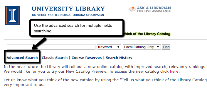 screen shot of advanced search link