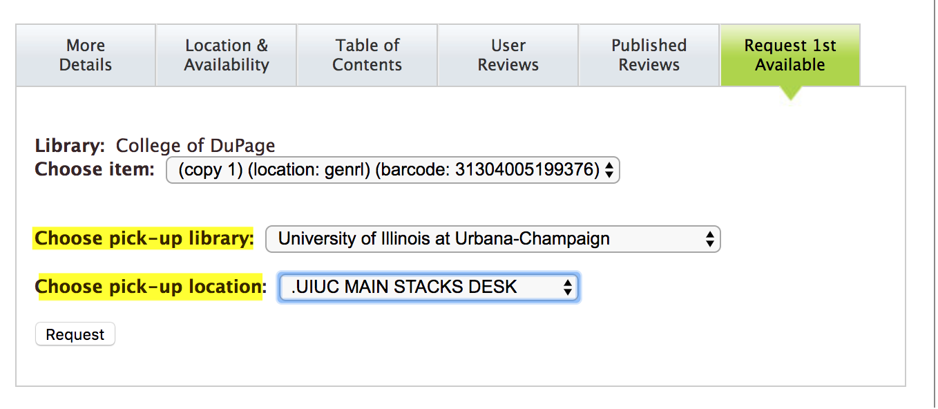 screen capture of library pickup options