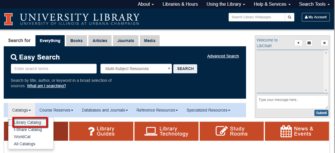 screen shot of library home page pointing to the library catalog link