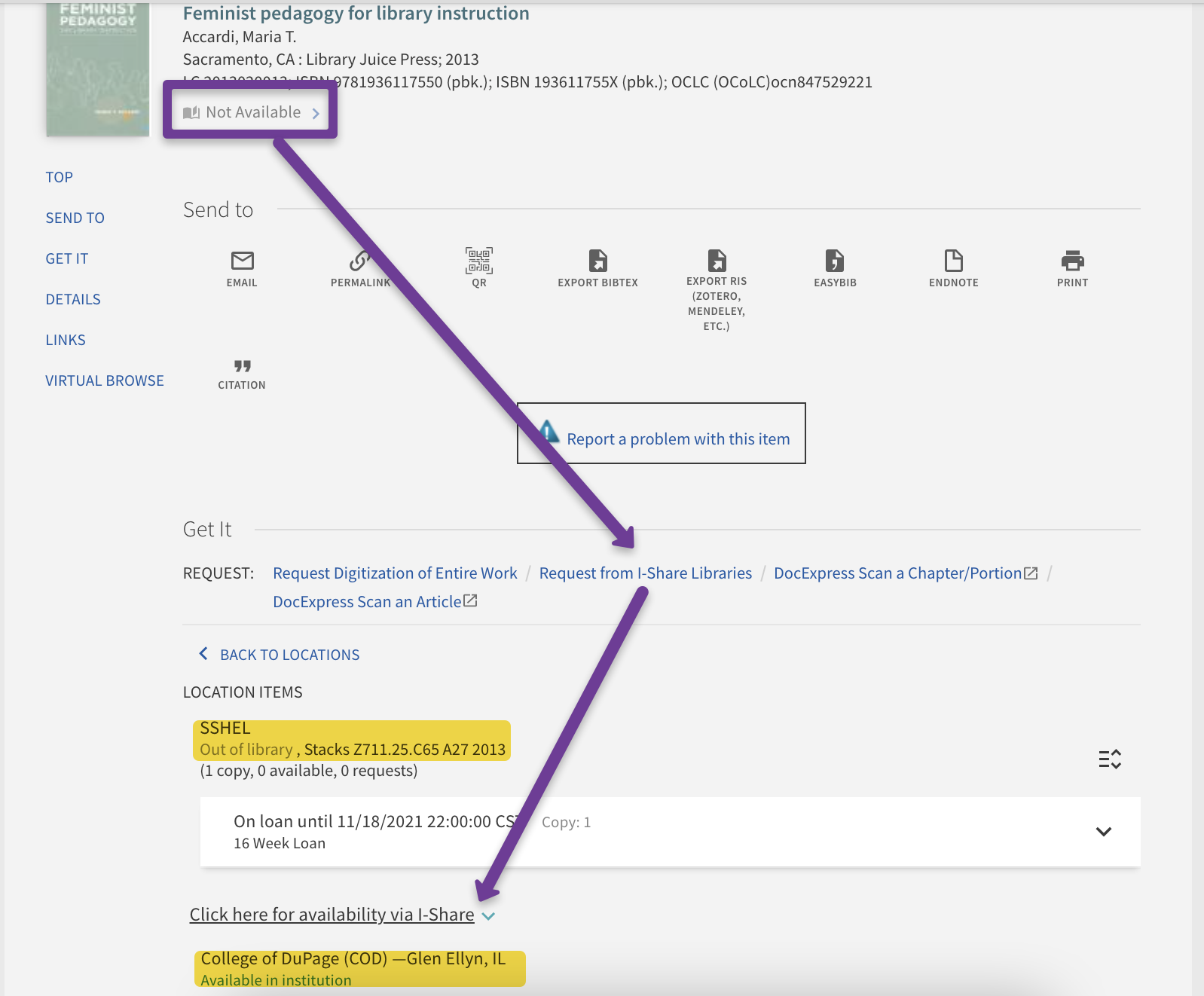 shows where to look in the catalog record for i-share availability and where to click to request the book from i-share