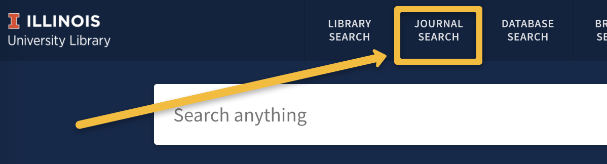 image of the journal search option circled