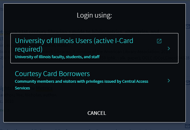 shows you options for either i-card holders or courtesy borrowers