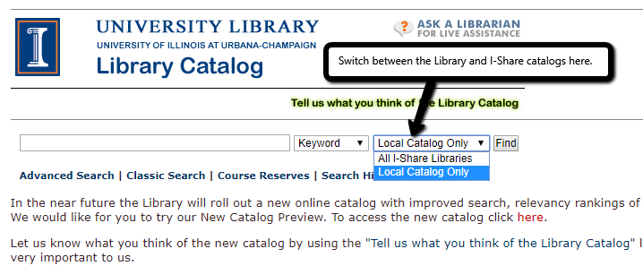 screen shot of drop-down menu between U of I library catalog and i-share catalog