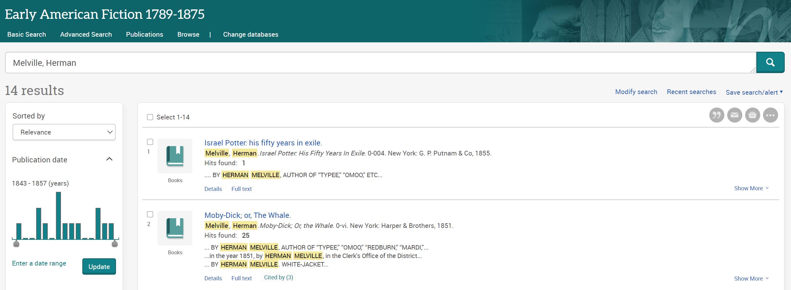 ProQuest Literature Results