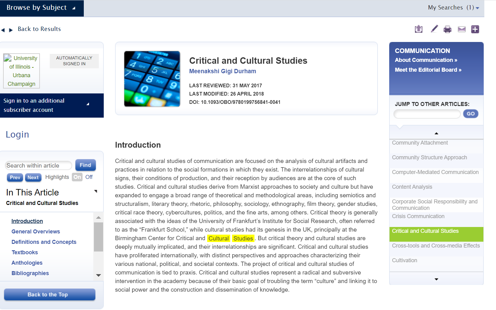 Oxford Bibliography Result