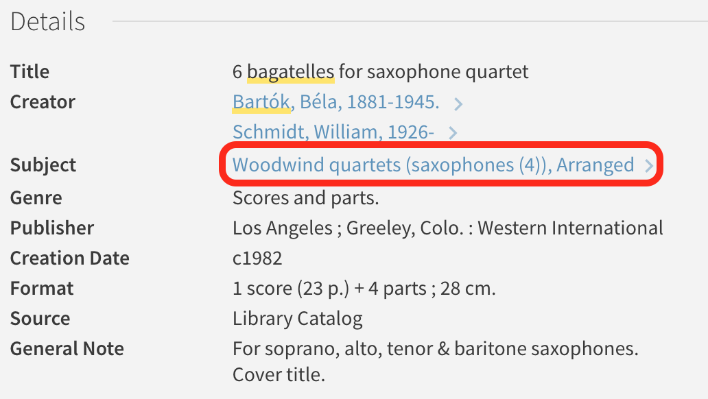 screenshot of catalog record where work is arranged for different instruments than original
