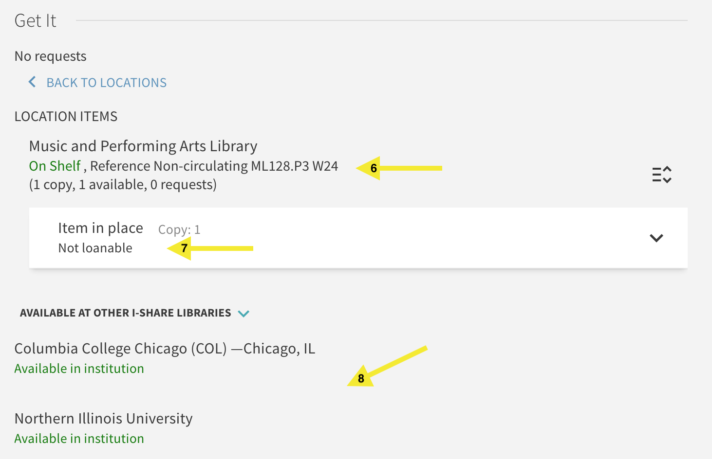 Screenshot of Primo library catalog focusing on the Get It section