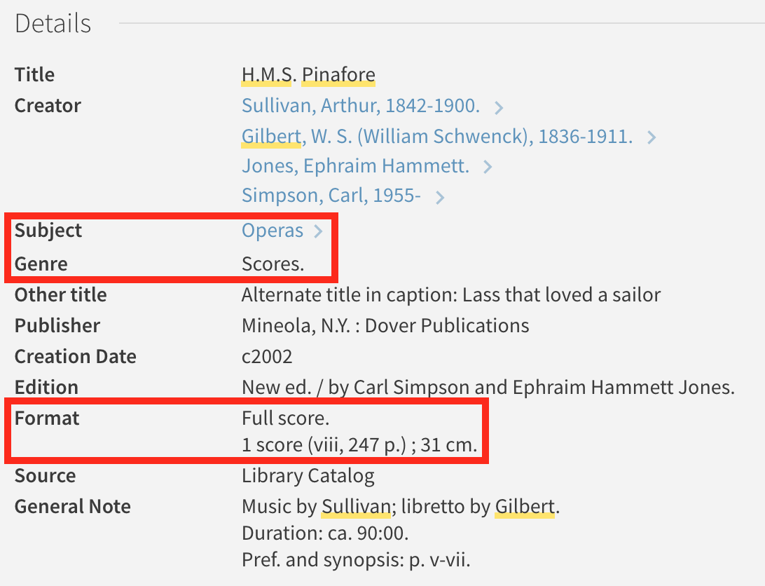 screenshot of library catalog showing full score information