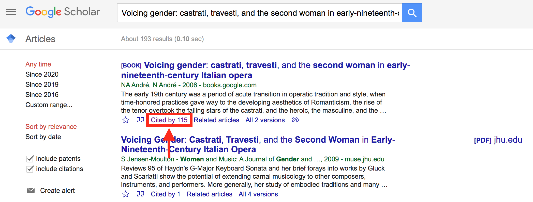 Google Scholar search results emphasizing Cited By