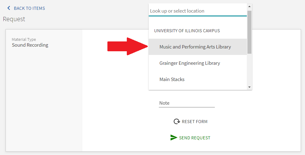 library catalog request form showing the Music & Performing Arts Library as a Library Pick up Location