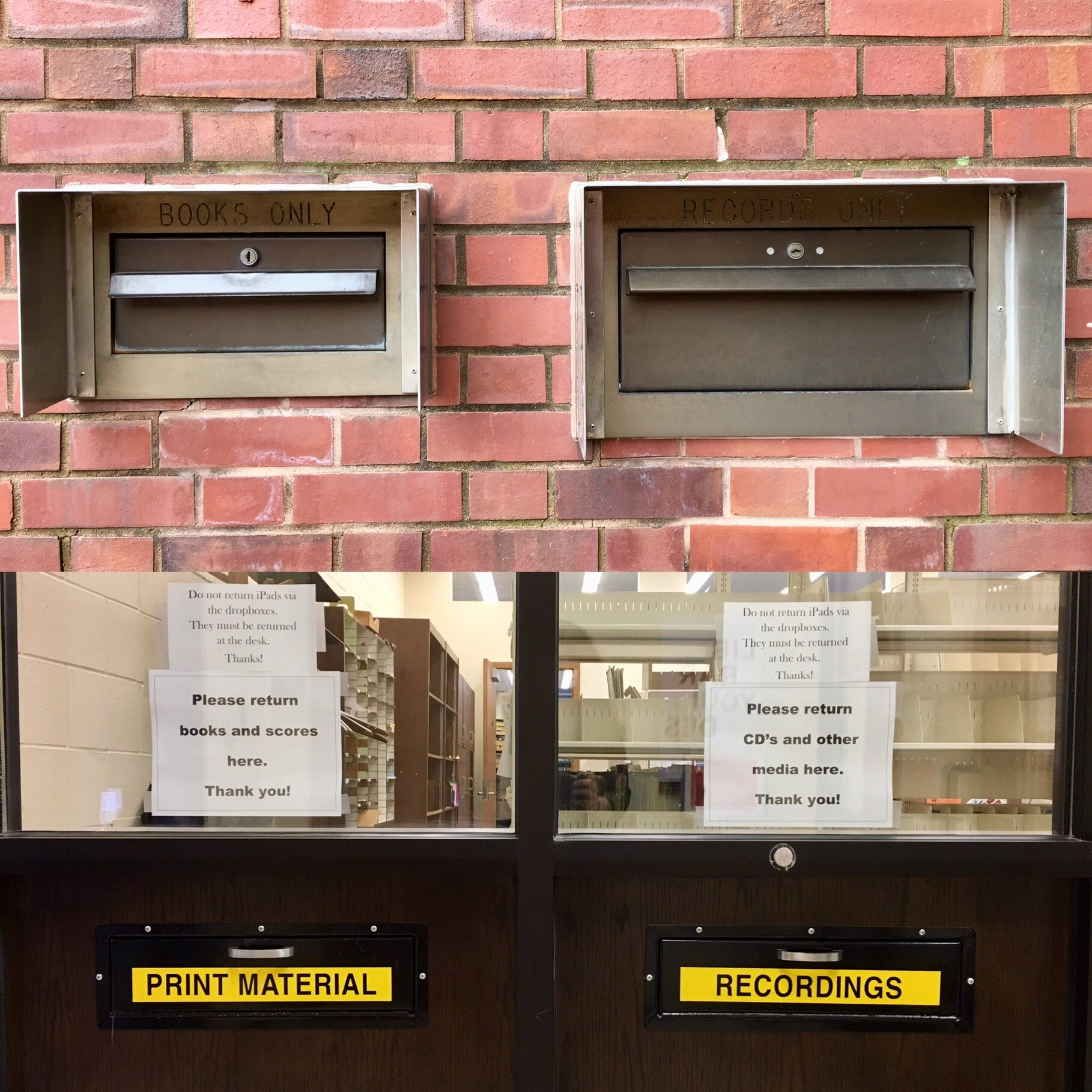 picture showing external and internal return drop boxes for MPAL