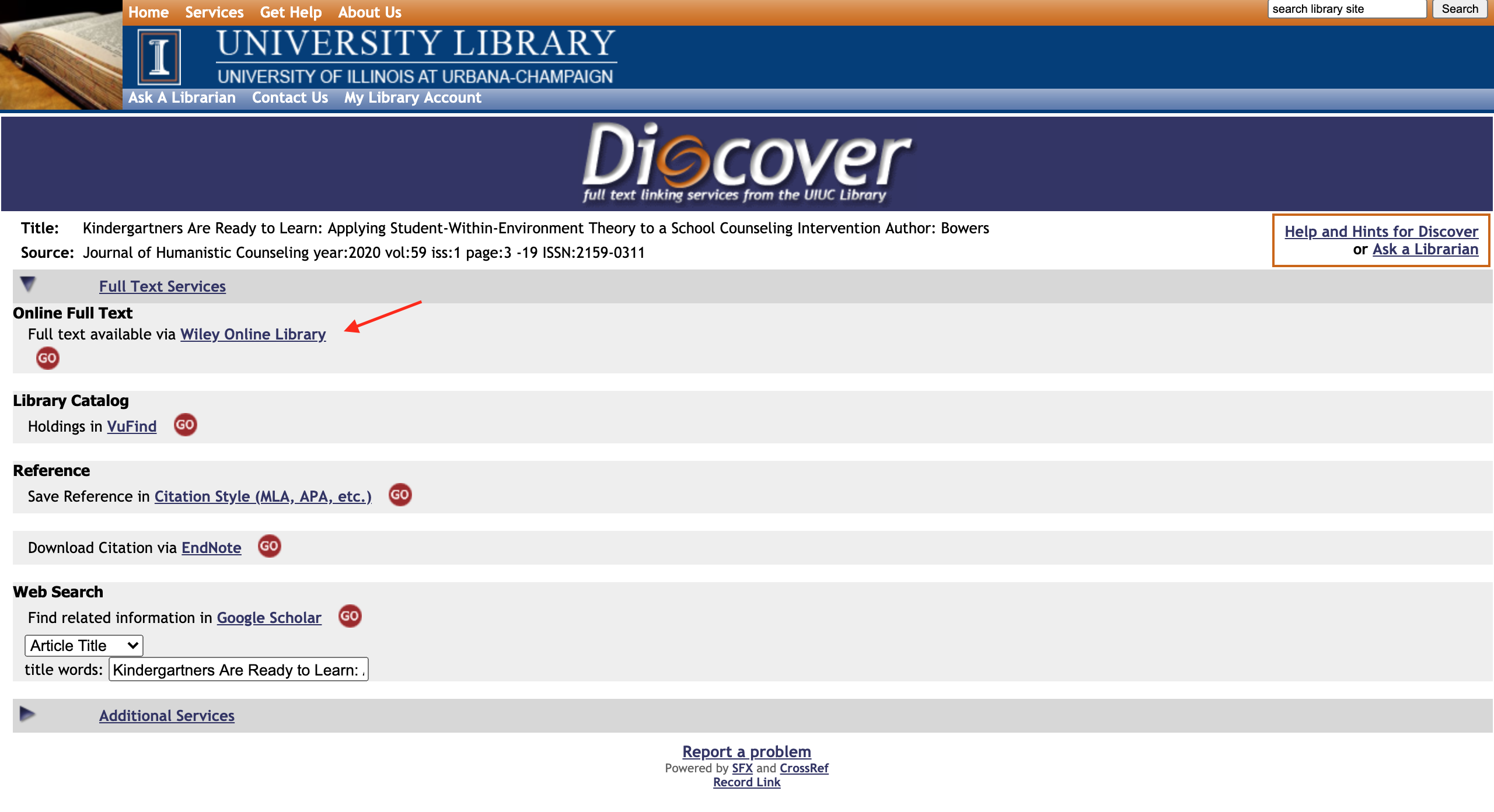 The image is the discover full text page an the online full text result is being pointed to by a red arrow