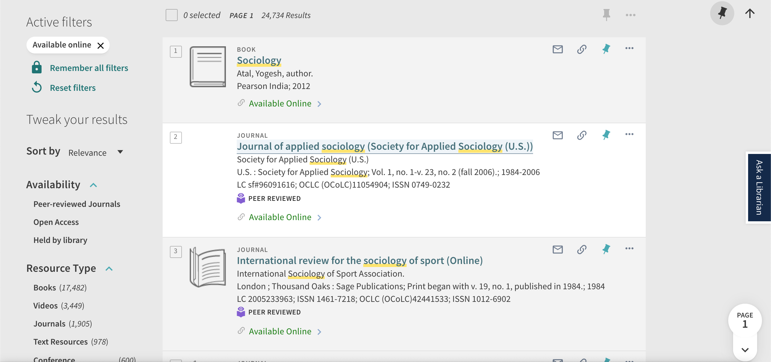 Image contains a filtered library search result for sociology that shows all online resources