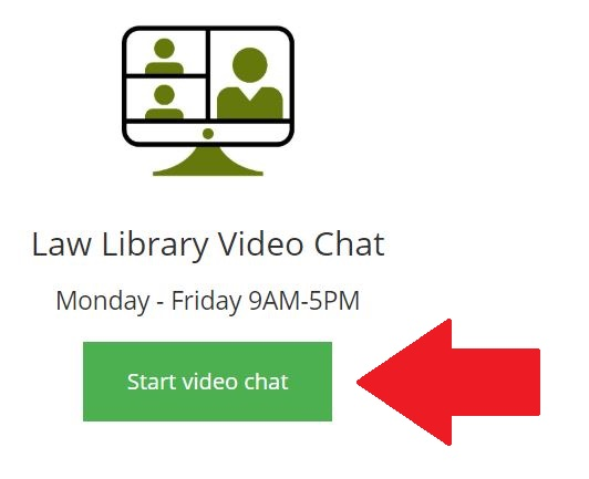 "Image indicating location of request button under heading ""Law Library Video Chat"""