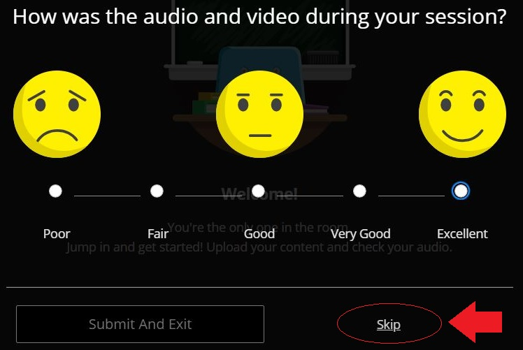 "Screenshot of Blackboard Collaborate, highlighting the option to skip rating the audio / video quality of the video chat session. You can enter a rating or click ""Skip"" in the bottom right corner."
