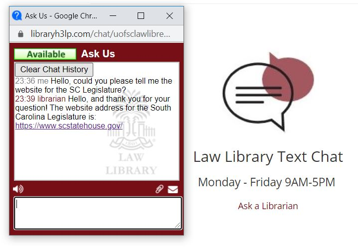 Screenshot highlighting the librarian's reply to a question in the chat box.