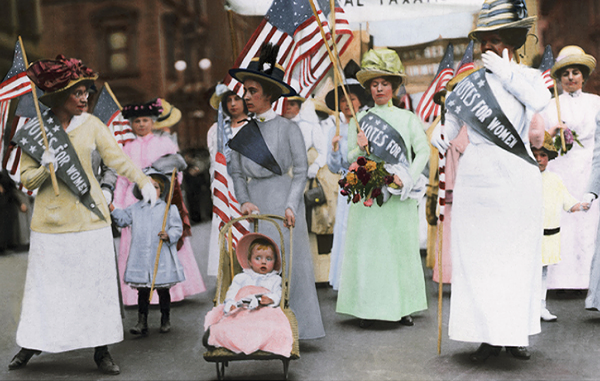 Image of women marching for the right to vote from the Library Congress
