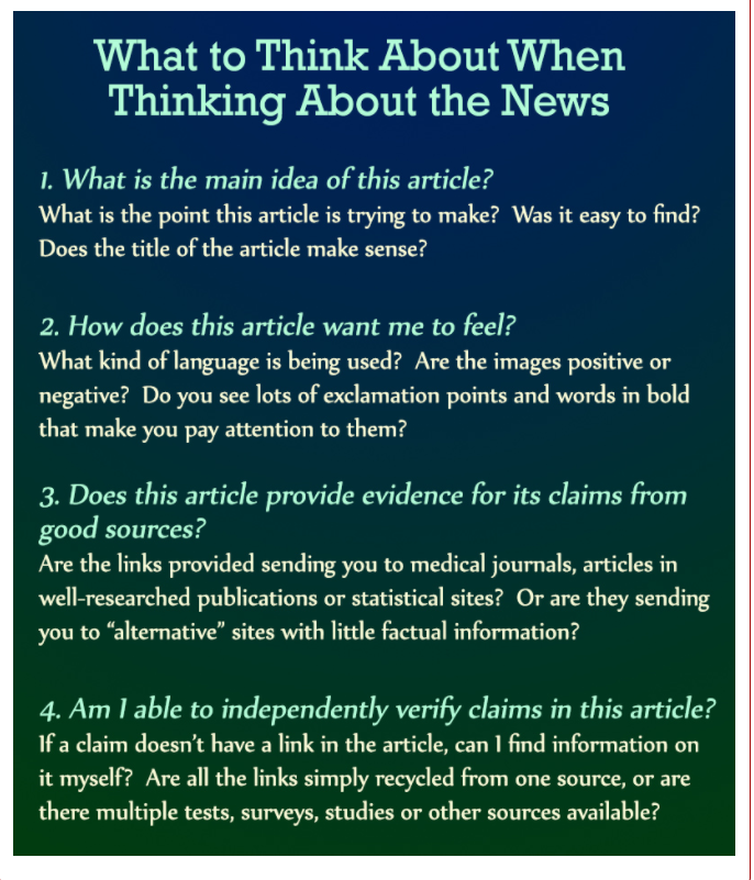 Image of poster with news evaluation ideas