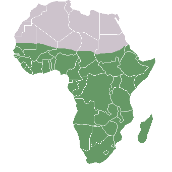 Map of Africa with Sub-Saharan highlighted in green
