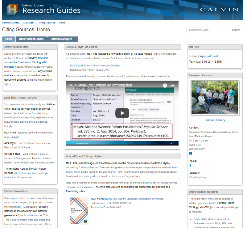 Screenshot of research guide for citing sources, webpage with boxes of text and images