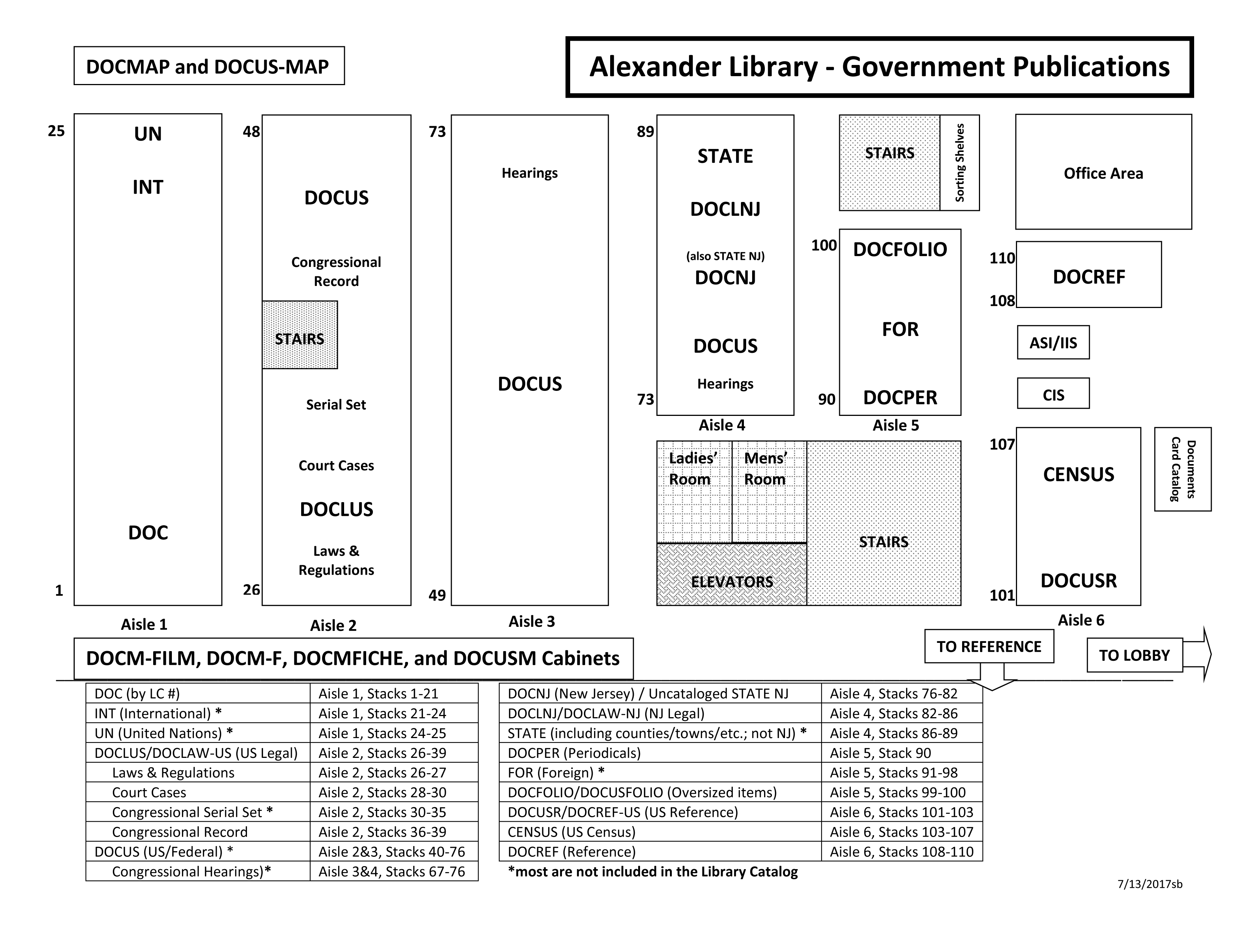 Map of Alexander Library Government Publications