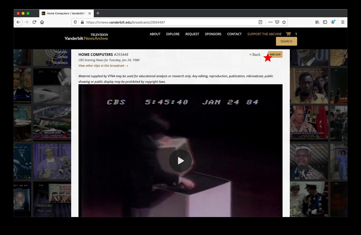 screenshot of clicking add clip