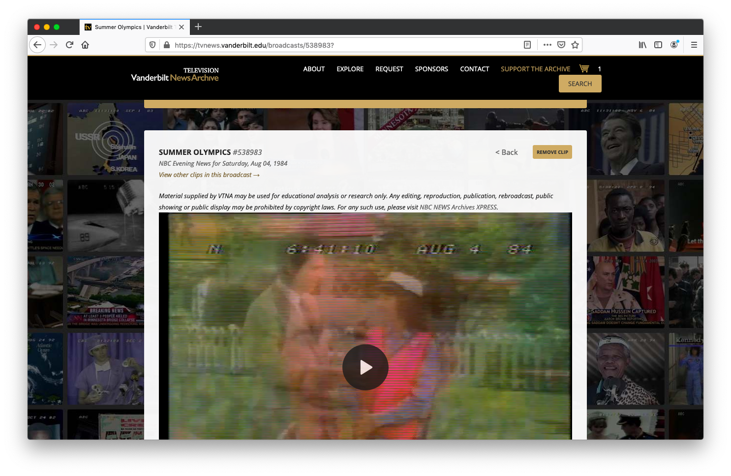 screenshot of clip added to the cart