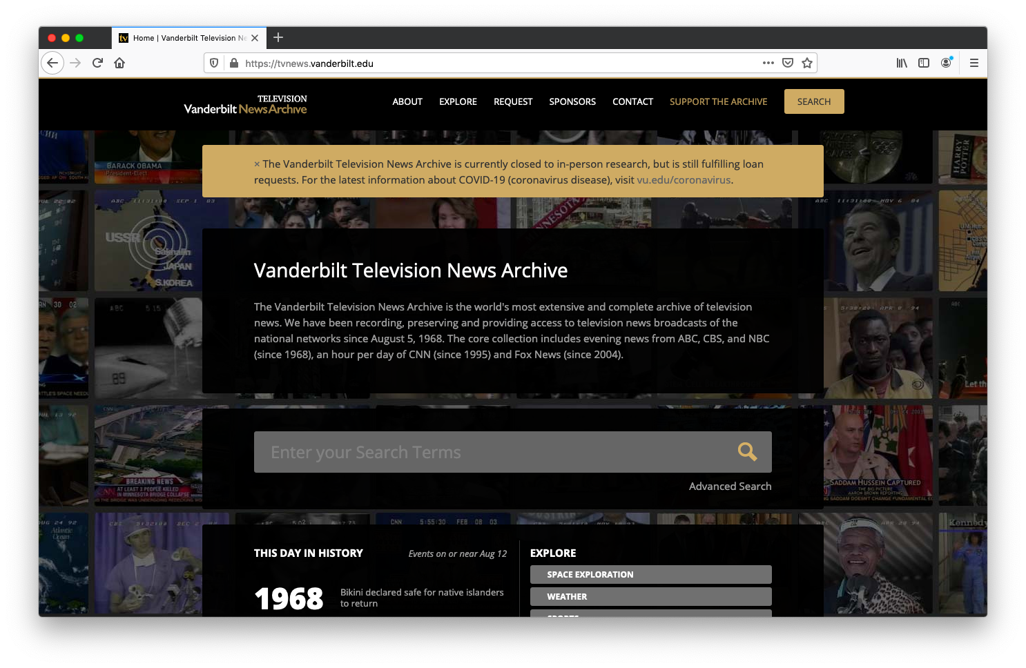 The home page of VTNA