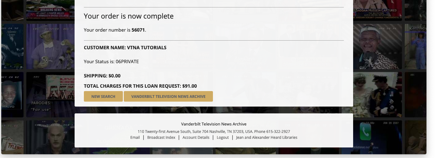 screenshot of a completed order form.