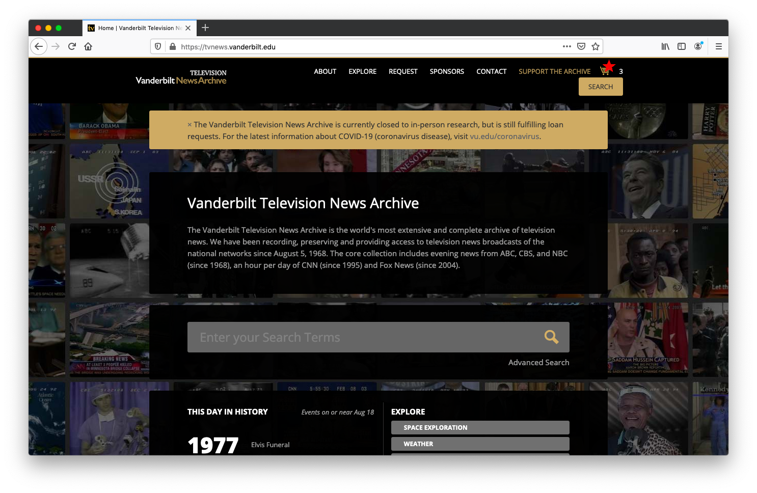 screenshot of the home page with a shopping cart in the upper righthand corner.