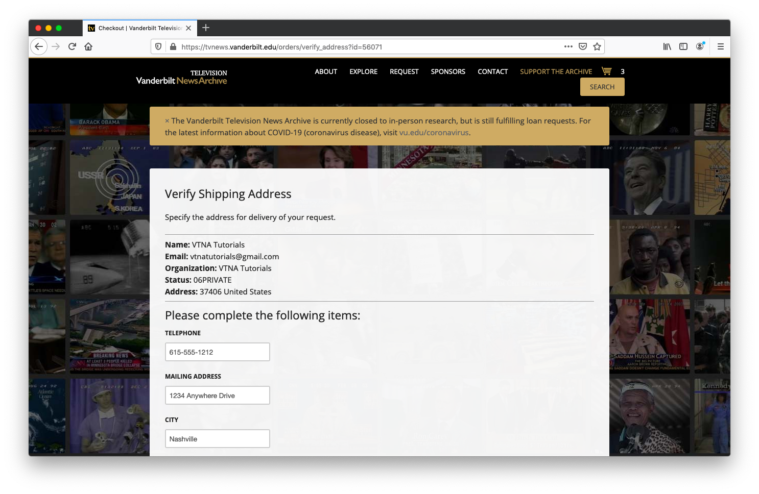 screenshot of the verify shipping address page
