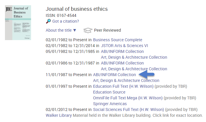 Journal of Business Ethics report with databases where available and date range