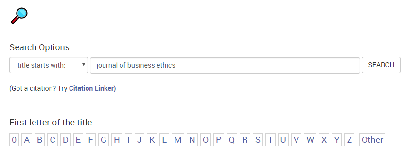 Journals a through Z with search for Journal of business ethics