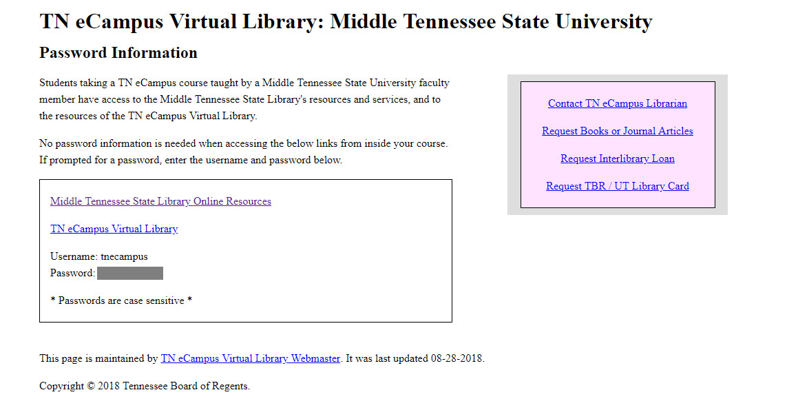 TN eCampus Virtual Library:  Middle Tennessee State University