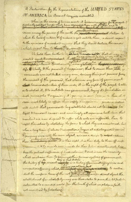 "Thomas Jefferson's ""original Rough draught"" of the Declaration of Independence"