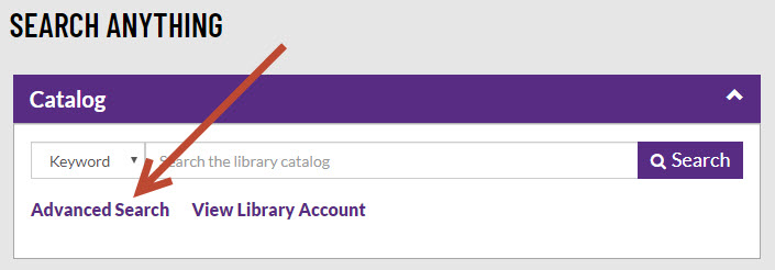 Screenshot: link to advanced search of library catalog