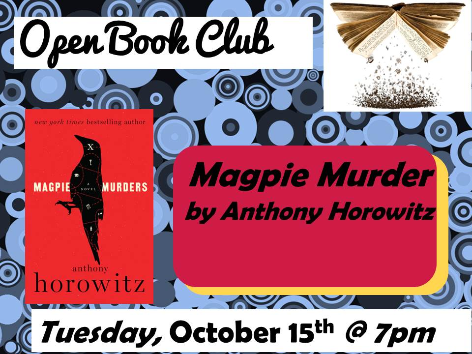 Open Book Club October 15 Magpie Murders Anthony Horowitz