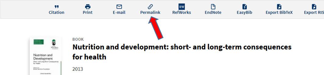 Screenshot of Permalink Option in OneSearch