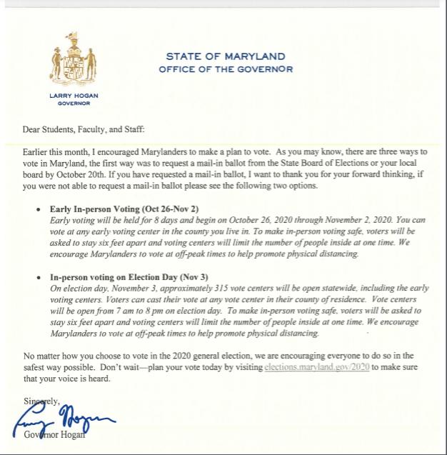 Letter from Gov. Hogan