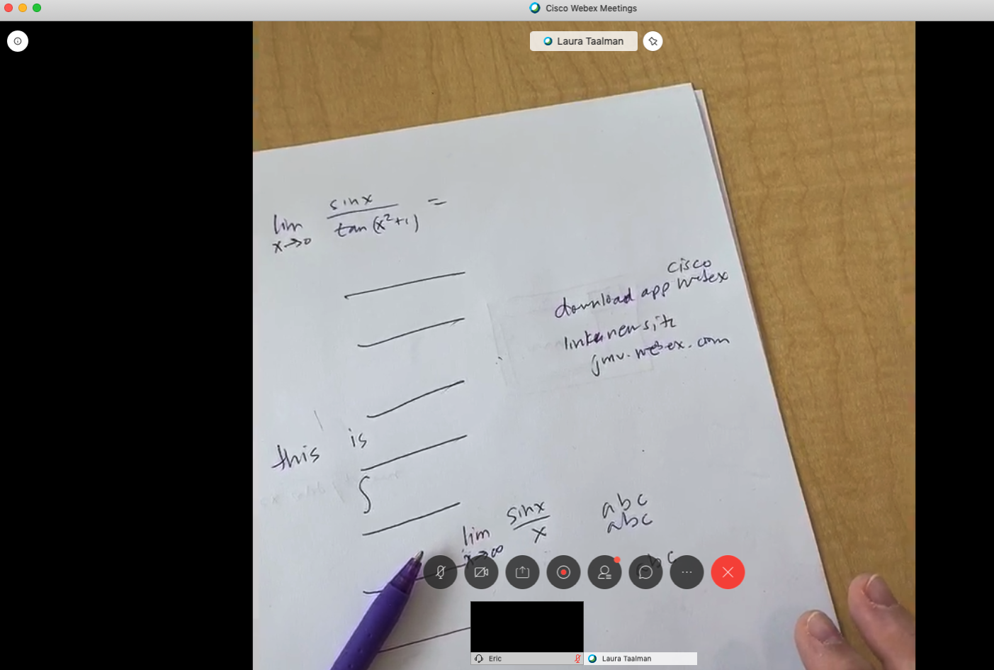 Equation Writing with WebEx