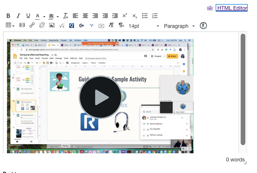 screenshot of Rich Content Editor in Canvas