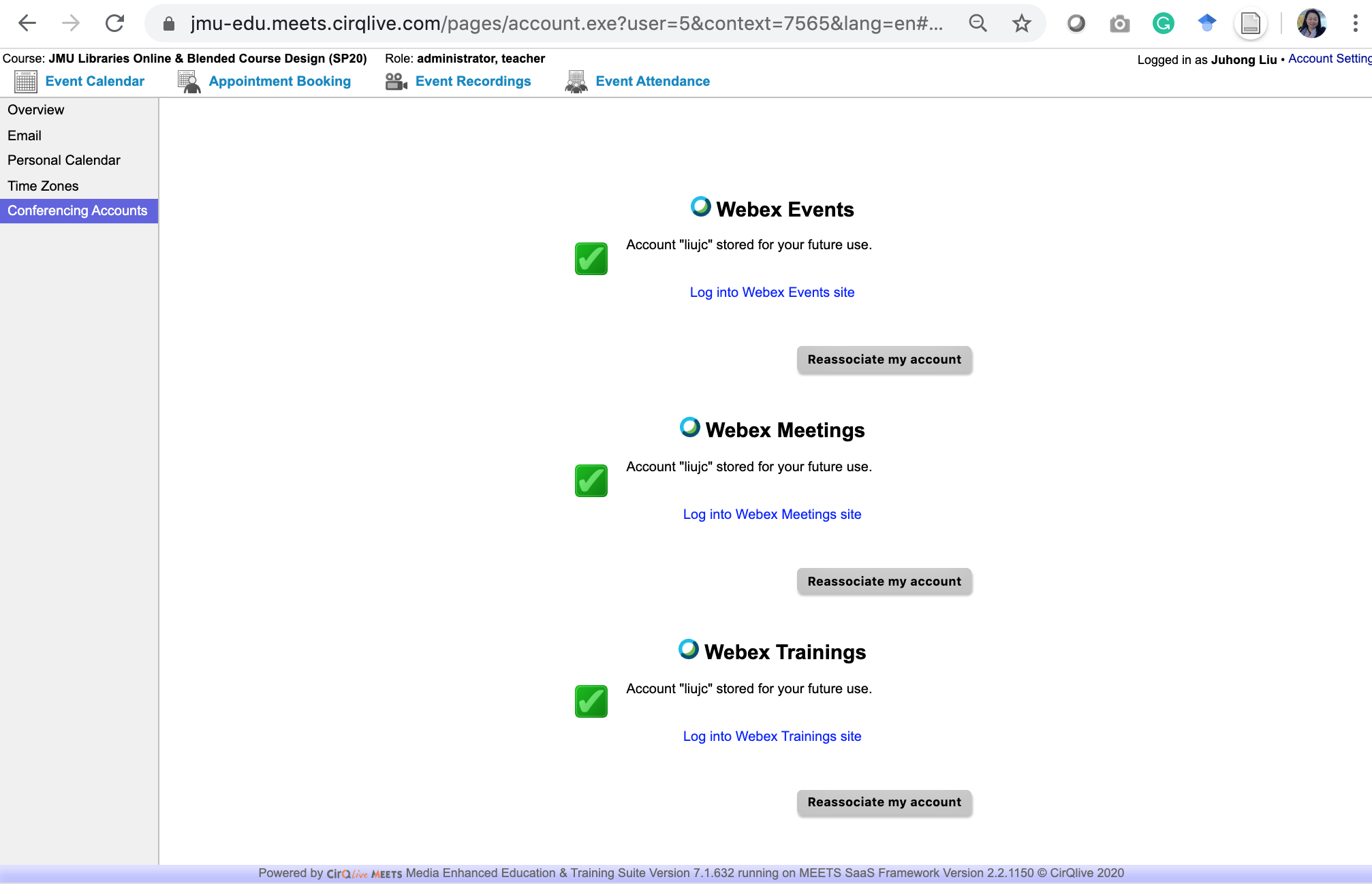 screenshot of green checkmarks by Webex features