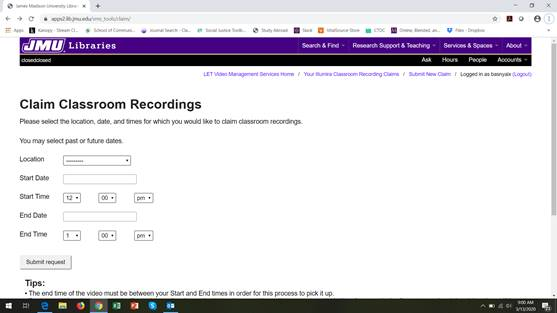 "screenshot of ""Claim Classroom Recordings"" page"