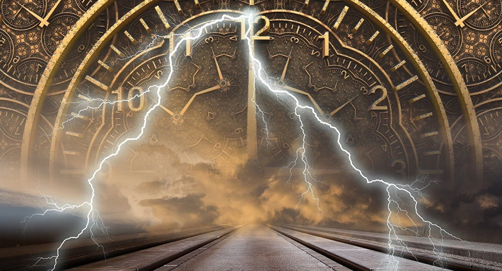 Illustration of a Clock and Pathway Symbolizing Time Travel