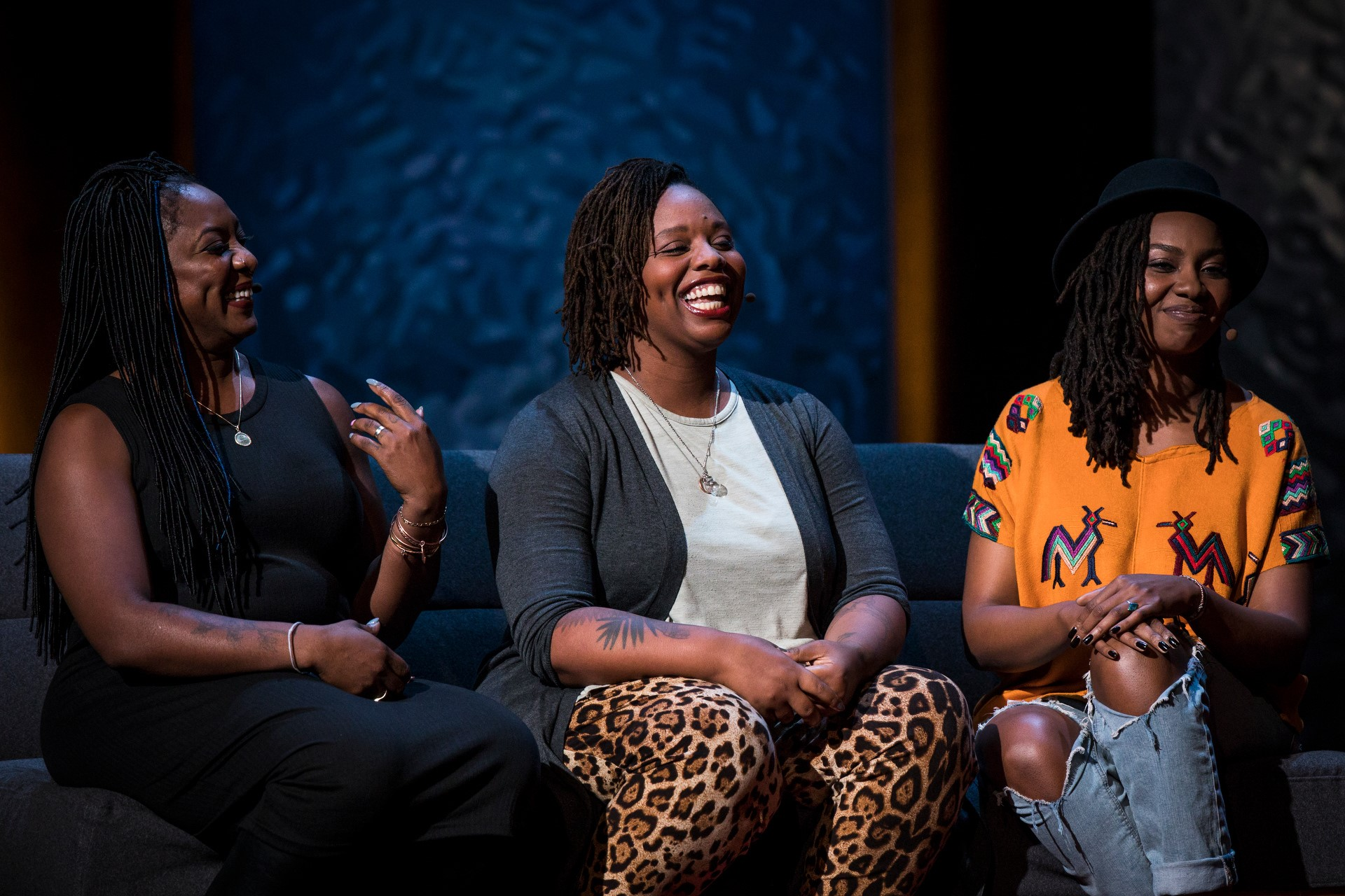 Photo of  Alicia Garza, Patrisse Cullors, and Opal Tometi, founders of the Black Lives Matter movement at TEDWomen 2016