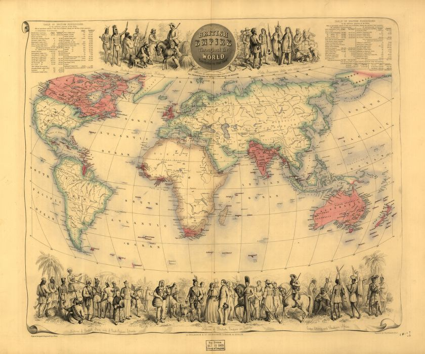 Map titled British Empire throughout the world exhibited in one view.