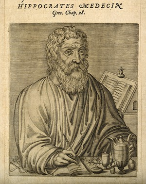 Line engraving of Hippocrates from 1584