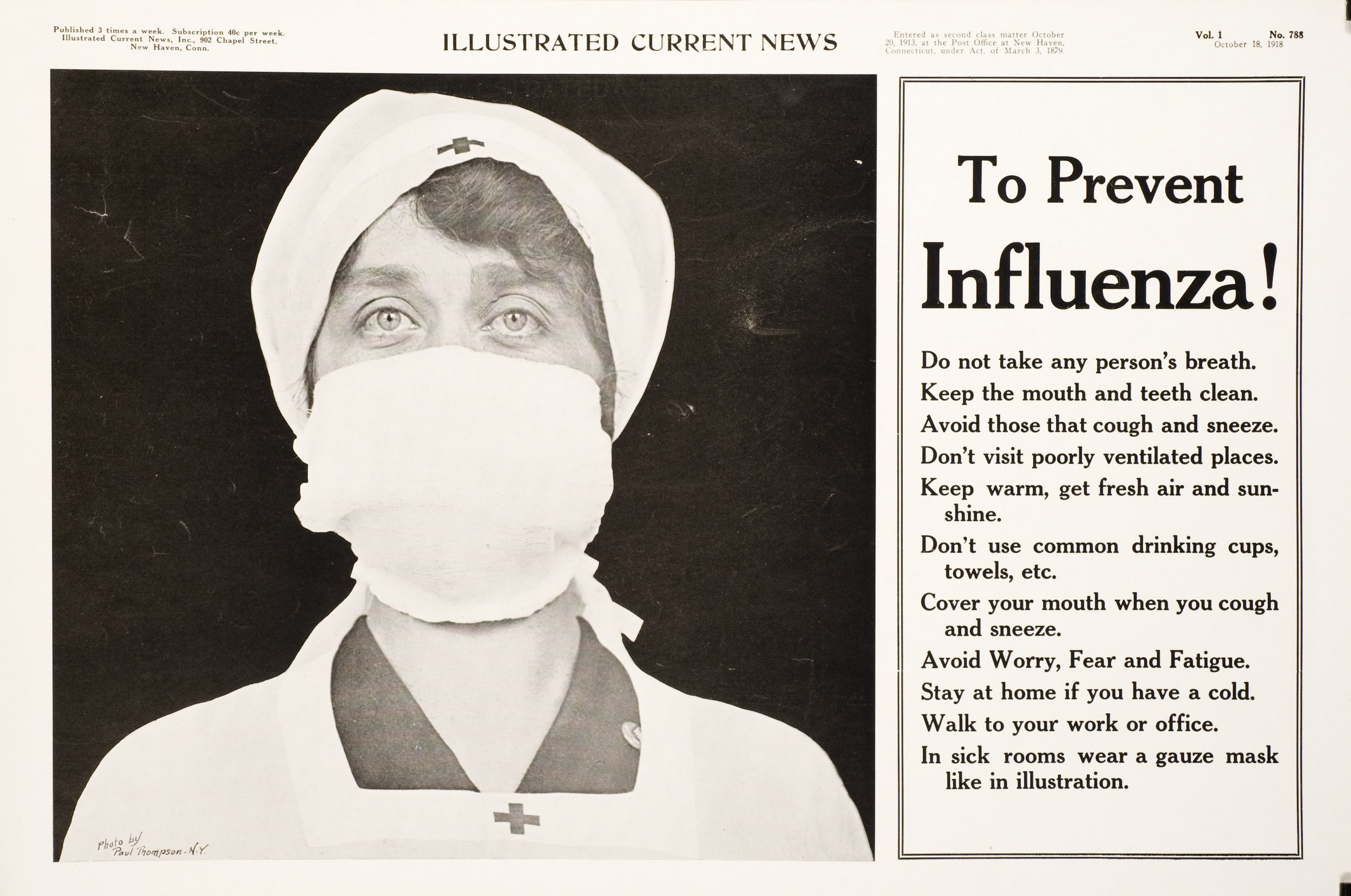 Black and white poster. Visual image is a photograph of a Red Cross nurse with a gauze mask over her nose and mouth. Text next to the image provides tips to prevent influenza.