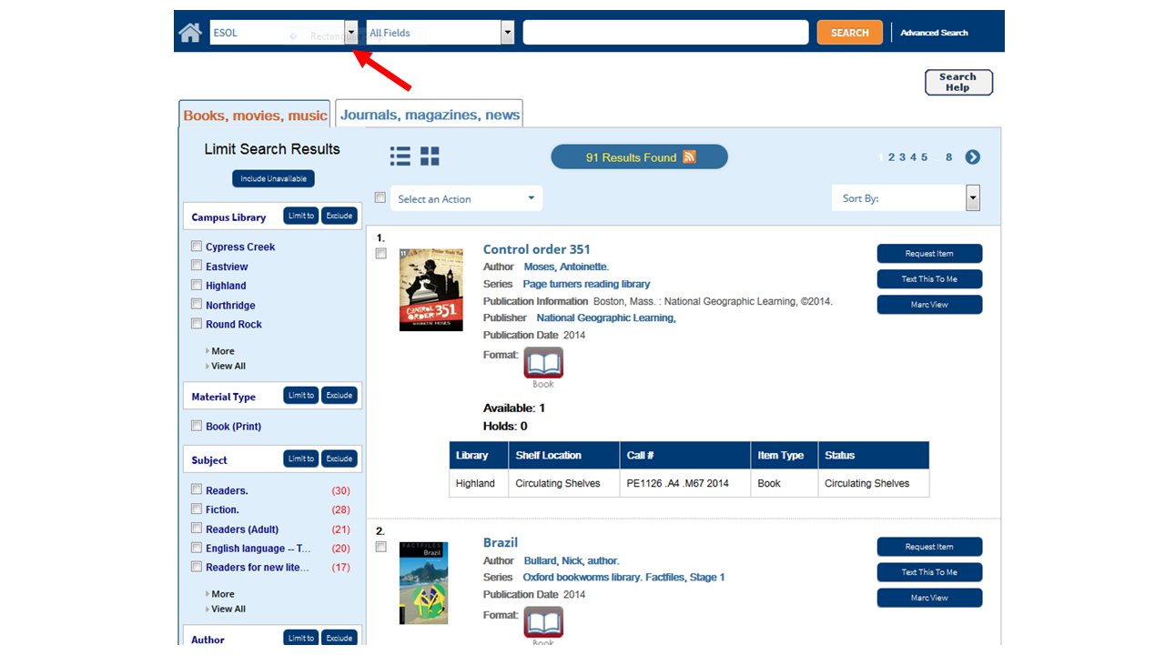 Select ESOL in the far left drop down menu to search for ESOL books
