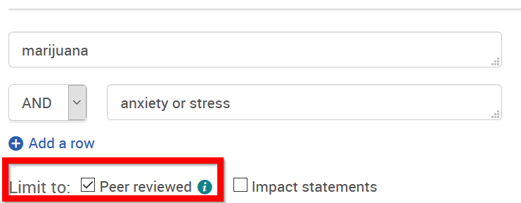 psycinfo search screen with peer-reviewed option highlighted